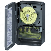 24 Hour Mechanical Dial Time Switch - Indoor Steel Case - Gray Finish - 208-277 Volt - Intermatic T104