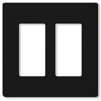 Black - Screwless - 2 Gang - Decorator Wall Plate - Lutron Claro CW-2-BL