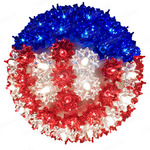 (100) RED, WHITE, BLUE Mini Lights - 7.5 in. dia. Starlight Sphere Image