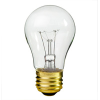 40 Watt - A15 Incandescent Light Bulb - Clear - Medium Brass Base - 130 Volt - Satco S3810
