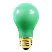 60 Watt - A19 Incandescent Light Bulb - Opaque Green - Medium Brass Base - 130 Volt - Satco S4986