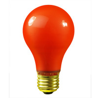 25 Watt - A19 Incandescent Light Bulb - Opaque Orange - Medium Brass Base - 120 Volt - Bulbrite 106525