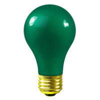25 Watt - A19 Incandescent Light Bulb -  Opaque Green - Medium Brass Base - 130 Volt - Satco S6091