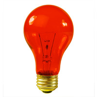 25 Watt - Transparent Orange - A19 - 120 Volt - 2,500 Life Hours - Party Light Bulb