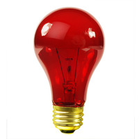 25 Watt - A19 Incandescent Light Bulb - Transparent Red - Medium Brass Base - 130 Volt - Satco S6080
