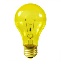 25 Watt - A19 Incandescent Light Bulb - Transparent Yellow - Medium Brass Base - 130 Volt - Satco S6083
