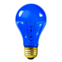 25 Watt - Transparent Blue - A19 - 120 Volt - 1000 Life Hours - Party Light Bulb