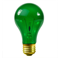 25 Watt - A19 Incandescent Light Bulb - Transparent Green - Medium Brass Base - 130 Volt - Satco S6081