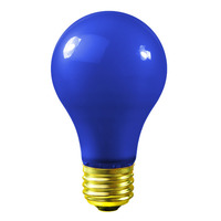 25 Watt - A19 Incandescent Light Bulb - Opaque Blue - Medium Brass Base - 130 Volt - Satco S6092