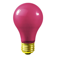 60 Watt - A19 Incandescent Light Bulb - Opaque Pink - Medium Brass Base - 120 Volt - Bulbrite 106660