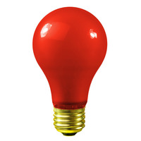 60 Watt - A19 Incandescent Light Bulb - Opaque Red - Medium Brass Base - 130 Volt - Satco S4984