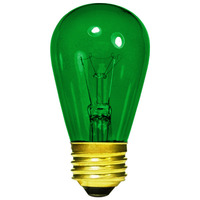 11 Watt - S14 Incandescent Light Bulb - Transparent Green - Medium Brass Base - 130 Volt - Halco 9054