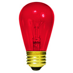 11 Watt - S14 - Transparent Red - 3000 Life Hours - 130 Volt