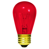 11 Watt - S14 Incandescent Light Bulb - Transparent Red - Medium Brass Base - 130 Volt - Halco 9052