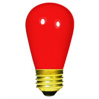 11 Watt - S14 Incandescent Light Bulb - Opaque Red - Medium Brass Base - 130 Volt - PLT IN-0011S14CR