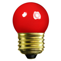 7.5 Watt - S11 Incandescent Light Bulb - Opaque Red - Medium Brass Base - 130 Volt - Halco 7019