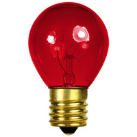 10 Watt - S11 - Transparent Red - Intermediate Base - 2,500 Life Hours - 130 Volt