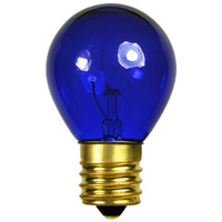 10 Watt - S11 - Transparent Blue - Intermediate Base - 2,500 Life Hours - 130 Volt