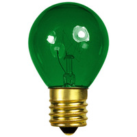 10 Watt - S11 - Transparent Green - Intermediate Base - 2,500 Life Hours - 130 Volt