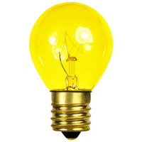 10 Watt - S11 Incandescent Light Bulb - Transparent Yellow - Intermediate Brass Base - 130 Volt - Bulbrite 702810