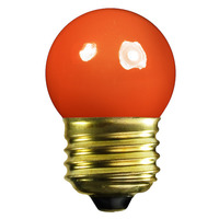 7.5 Watt - S11 Incandescent Light Bulb - Opaque Orange - Medium Brass Base - 120 Volt - Satco S3610