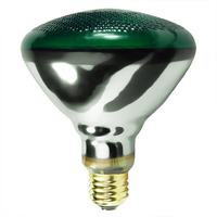 100 Watt - BR38 Incandescent Light Bulb - Green - Medium Brass Base - 130 Volt - Halco 404114