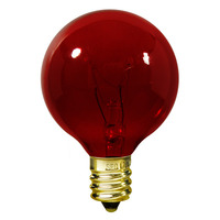10 Watt - G12 Globe Incandescent Light Bulb - Transparent Red - Candelabra Brass Base - 120 Volt - Satco S3833