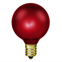 15 Watt - G16.5 (G50) Incandescent Light Bulb - Ruby Red - Candelabra Brass Base - 130 Volt - IN-L1898