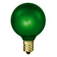 15 Watt - Emerald Green - G16.5 (G50) - Candelabra Base - 2 in. Dia - 130 Volt - Amusement Light Bulb