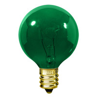 7 Watt - G16 (G50) Incandescent Light Bulb - Green - Intermediate Brass Base - 130 Volt - PLT DEC-0007G16G