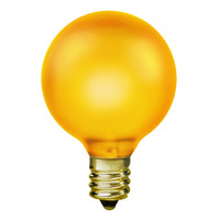 15 Watt - Topaz Yellow - G16.5 (G50) - Candelabra Base - 2 in. Dia - 130 Volt - Amusement Light Bulb