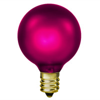 15 Watt - G16.5 (G50) Incandescent Light Bulb - Amethyst Magenta - Candelabra Brass Base - 130 Volt - IN-L1900