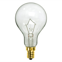 60 Watt - A15 Incandescent Light Bulb - Clear - Candelabra Brass Base - 130 Volt - Bulbrite 104361