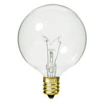 25 Watt - G16 Globe Incandescent Light Bulb - Clear - Candelabra Brass Base - 130 Volt - Satco A3922