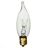 25 Watt - CA8 Incandescent Light Bulb - Clear - Candelabra Brass Base - 120 Volt - Satco S3274