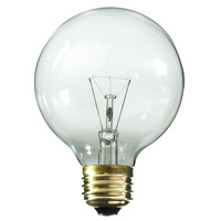 25 Watt - G25 Globe Incandescent Light Bulb - Clear - Medium Brass Base - 130 Volt - Satco A3647