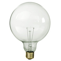 100 Watt - G40 Globe Incandescent Light Bulb - Clear - Medium Brass Base - 120 Volt - Satco S3013