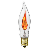 3 Watt - CA5.5 - Clear - Flicker Flame - Candelabra Base - 1,000 Life Hours - 120 Volt