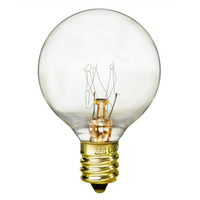 10 Watt - G12 Globe Incandescent Light Bulb - Clear - Candelabra Brass Base - 130 Volt - Bulbrite 301010