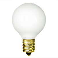 10 Watt - G12 Globe Incandescent Light Bulb - White - Candelabra Brass Base - 130 Volt - Bulbrite 300010