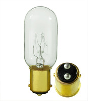 25 Watt - T8 Incandescent Light Bulb - Clear - DC Bayonet Brass Base - 130 Volt - Satco S3909
