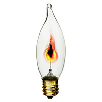 3 Watt - CA10 - Clear - Flicker Flame - 2,500 Life Hours - 130 Volt
