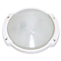 1 Light - Oblong Round Bulk Head - Semi Gloss White/Frosted - Nuvo 60-516
