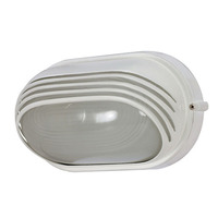 1 Light - Oval Hood Bulk Head - Semi Gloss White/Frosted - Nuvo 60-522