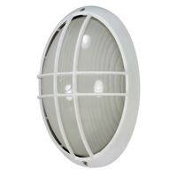 1 Light - Large Oval Cage Bulk Head - Semi Gloss White/Frosted - Nuvo 60-528