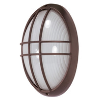 1 Light - Large Oval Cage Bulk Head - Architectural Bronze/Frosted Glass - Nuvo 60-529