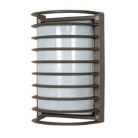 1 Light - Rectangle Cage Bulk Head - Architectural Bronze/Frosted Glass - Nuvo 60-533