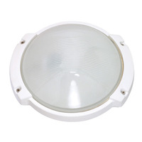 1 CFL - Oblong Round Bulk Head - Semi Gloss White/Frosted - Nuvo 60-560