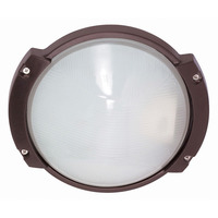1 CFL - Oblong Round Bulk Head - Architectural Bronze/Frosted Glass - Nuvo 60-561