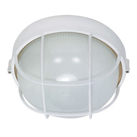1 CFL - Round Cage Bulk Head - Semi Gloss White/Frosted - Nuvo 60-562